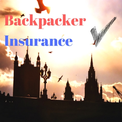 "Image of London with text ""Backpacker Insurance"""